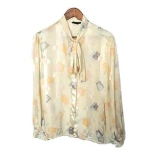 Vintage Breckenridge Cream Pussy Bow Blouse